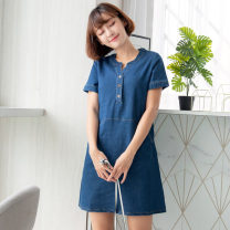 Dress Summer 2020 Blue S,M,L,XL,2L,3L Middle-skirt singleton  Short sleeve commute V-neck High waist Solid color Three buttons A-line skirt 18-24 years old Type A Orange bear literature pocket DA5912