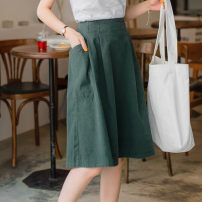 skirt Summer 2020 S,M,L,XL,2L,3L Black, lake green, Khaki Mid length dress fresh Natural waist A-line skirt Solid color Type A 25-29 years old CA998 Orange bear pocket