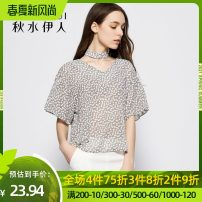 Lace / Chiffon Summer of 2019 Medium grey S M L XL XXL Short sleeve commute Socket singleton  easy Regular Crew neck Decor Lotus leaf sleeve 25-29 years old thinking of an old acquaintance on seeing a familiar scene printing Ol style Polyester 100% Pure e-commerce (online only)