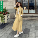 Dress Autumn 2020 Yellow suit green suit S M L XL XXL Mid length dress Two piece set Long sleeves commute tailored collar High waist Solid color Single row two buttons Pleated skirt routine Others 25-29 years old Type A Mojo Korean version Pleated pocket button MULV19WH902 More than 95% other