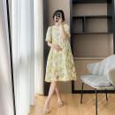 Dress Miss Zhou yellow M, L Korean version Long sleeves Medium length summer Crew neck Decor YYY88