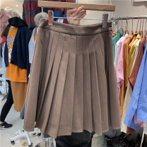 skirt Spring 2021 S, M Brown, blue Short skirt commute High waist Pleated skirt Solid color Type A 71% (inclusive) - 80% (inclusive) other polyester fiber fold Korean version