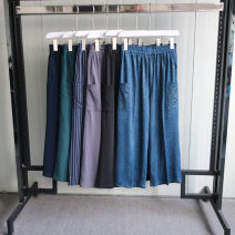 Casual pants Gray, black, red, Navy, green, denim blue M, L Summer 2020 Cropped Trousers Wide leg pants Natural waist 25-29 years old 81% (inclusive) - 90% (inclusive) other