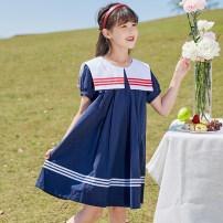 Dress Navy Red female Han you 120cm 130cm 140cm 150cm 160cm 170cm Other 100% summer Korean version Short sleeve Solid color cotton A-line skirt X45 Class B Summer 2021 6 years old, 7 years old, 8 years old, 9 years old, 10 years old, 11 years old, 12 years old, 13 years old and 14 years old