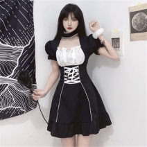 Women's large Summer 2021 black Large XL, large XXL, large XXL, large XXXXL, large L, M Dress singleton  commute Self cultivation moderate Socket Short sleeve Solid color Retro Three dimensional cutting puff sleeve Lace stitching Short skirt other Hollowing out
