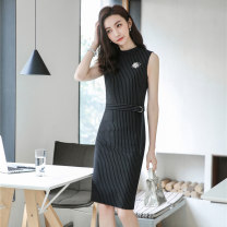 Dress Spring 2020 S M L XL XXL XXXL Middle-skirt Two piece set Sleeveless commute Crew neck middle-waisted stripe zipper One pace skirt routine Others 25-29 years old Type H J-ME Ol style zipper 30% and below other polyester fiber Pure e-commerce (online only)