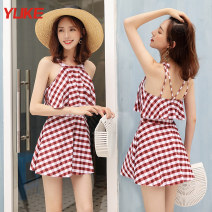 one piece  Yuke M (recommended weight 85-95 kg) l (recommended weight 95-105 kg) XL (recommended weight 105-120 kg) 2XL (recommended weight 120-135 kg) 3XL (recommended weight 135-150 kg) Jujube check Caramel pure black One piece flat corner swimsuit Steel strap breast pad Spandex others no female