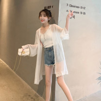 Lace / Chiffon Summer of 2019 white S M L XL Long sleeves commute Cardigan singleton  easy Medium length other Solid color Lotus leaf sleeve 18-24 years old Beautiful Nida Cut out stitching with ruffles and crochets Korean version Other 100% Pure e-commerce (online only)