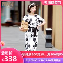 Dress Spring 2021 black and white S M L XL Mid length dress 35-39 years old Four inches / 4 inches 51% (inclusive) - 70% (inclusive) polyester fiber Polyester 70% Silk 30%