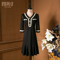 Dress Summer 2021 black S M L XL Mid length dress 35-39 years old Four inches / 4 inches More than 95% polyester fiber Polyester 100%