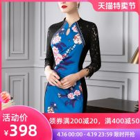 Dress Spring of 2019 China Red peacock blue mint green S M L XL XXL XXXL Mid length dress singleton  three quarter sleeve commute Crew neck middle-waisted Big flower zipper One pace skirt routine Others 40-49 years old Type H Four inches / 4 inches Retro Embroidered hook cut out zipper lace other