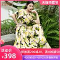 Dress Summer 2020 yellow S M L XL XXL longuette singleton  Short sleeve commute V-neck middle-waisted Big flower zipper A-line skirt Bat sleeve Others 35-39 years old Type H Four inches / 4 inches lady printing More than 95% other other Other 100%