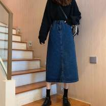 skirt Autumn 2020 S,M,L,XL Light blue, dark blue, black Mid length dress commute High waist A-line skirt Solid color Type A 18-24 years old D60A60070 30% and below other other Korean version