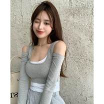 T-shirt Gray, black Average size Autumn 2020 Long sleeves square neck Self cultivation have cash less than that is registered in the accounts routine commute cotton 96% and above 18-24 years old Korean version Color matching 319# Splicing, hollowing out