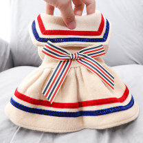 Pet clothing / raincoat Dog Dress XS (about 2.5-3.5 kg) s (about 4-5.5 kg) m (about 6-8 kg) l (about 9-11 kg) XL (about 11-14 kg) Le Shuang pet leisure time Japanese striped student skirt