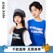T-shirt Blue a blue b black a black B gxg kids 110/56 120/60 130/64 140/64 150/68 male spring and autumn Short sleeve Crew neck There are models in the real shooting nothing Cotton blended fabric letter Cotton 92% polyurethane elastic fiber (spandex) 8% 12C144007B Class B Spring 2021 Chinese Mainland