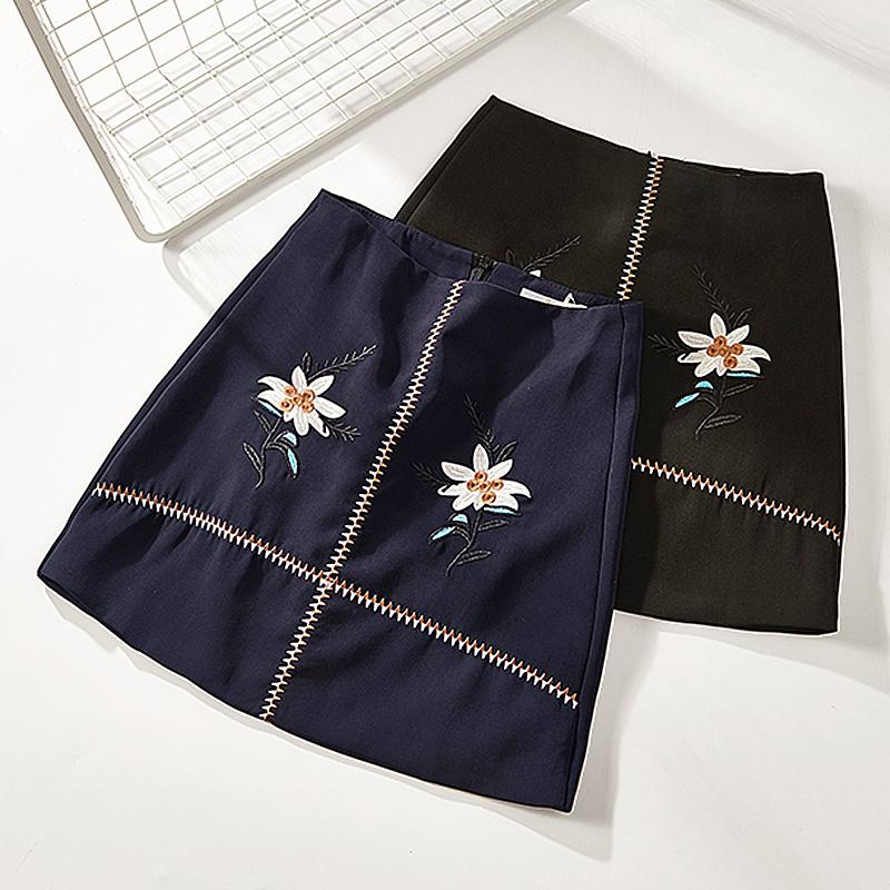 skirt Summer of 2018 S M L XL Navy 810-50 black 810-50 pink 810-50 Short skirt Sweet Natural waist A-line skirt Decor Type A brocade polyester fiber
