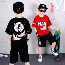 suit Aierjunyi Black, red 120cm,150cm,130cm,140cm,160cm,110cm male summer Korean version Two piece set 2 pieces Thin money There are models in the real shooting Socket nothing letter Pure cotton (100% cotton content) children Shopping Class B 8, 9, 10, 11, 12, 13, 14 Chinese Mainland