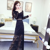 Dress Spring 2020 Pink, white, black, sky blue, yellow, red, green M,2XL,XL,L,S longuette singleton  Long sleeves commute Crew neck High waist zipper 18-24 years old Type H Korean version 12A 30% and below Lace