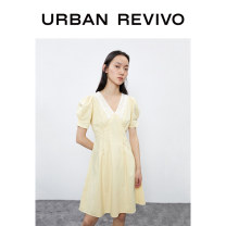 Dress Summer 2020 XS S M L XL longuette Short sleeve Polo collar middle-waisted other other 25-29 years old UR More than 95% other cotton Cotton 100% Same model in shopping mall (sold online and offline)