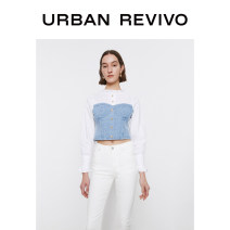 shirt blue S XL XS L M Spring 2021 cotton 96% and above Long sleeves Original design Medium length stand collar Single row multi button Wrap sleeves other 25-29 years old UR WG09SBMN2000 Cotton 99% other 1% Same model in shopping mall (sold online and offline)