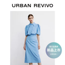 Dress Summer 2021 Gray blue S XL XS L M Mid length dress Short sleeve other middle-waisted routine 25-29 years old UR WG10S7DN2000 51% (inclusive) - 70% (inclusive) cotton Cotton 54% Lyocell fiber (Lyocell) 42% polyurethane elastic fiber (spandex) 4%