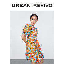 Dress Spring 2021 Orange print S M L XL Middle-skirt Short sleeve middle-waisted 25-29 years old UR YV09S7EN2001 More than 95% cotton Cotton 100% Same model in shopping mall (sold online and offline)