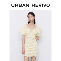 Dress Autumn 2020 Light yellow S XL L M Short skirt singleton  Short sleeve square neck middle-waisted other bishop sleeve 25-29 years old UR More than 95% other cotton Cotton 100% Same model in shopping mall (sold online and offline)
