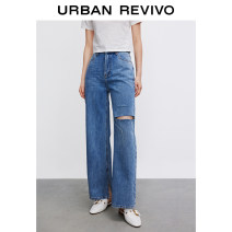 Jeans Summer 2021 blue XXS S XS L M trousers Natural waist Straight pants 25-29 years old WJ11SBKN2003 UR Cotton 100% Same model in shopping mall (sold online and offline)