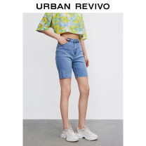 Casual pants blue XXS S XS L M Summer 2021 shorts Straight pants Natural waist 25-29 years old WH12SBQN2000 UR Cotton 90% polyester 8% polyurethane elastic fiber (spandex) 2% Same model in shopping mall (sold online and offline)