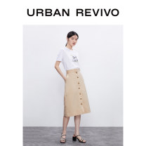 skirt Summer 2020 S XL XS L M Mid length dress Natural waist 25-29 years old More than 95% UR cotton Cotton 100% Same model in shopping mall (sold online and offline)