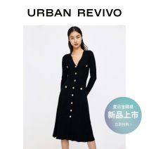 Dress Spring 2021 It's black S XL XS L M longuette Sleeveless V-neck middle-waisted Solid color routine 25-29 years old UR 30% and below other polyester fiber Same model in shopping mall (sold online and offline)