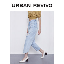 Jeans Summer 2020 blue S XL XS L M Ninth pants Natural waist Straight pants 25-29 years old UR Cotton 100% Same model in shopping mall (sold online and offline)