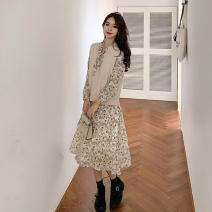 Dress Summer 2021 Picture color S,M,L,XL,2XL,3XL,4XL Mid length dress Two piece set Long sleeves commute other High waist Broken flowers Socket A-line skirt routine Others 18-24 years old Type A Other / other Korean version Bow, ruffle, open back More than 95%