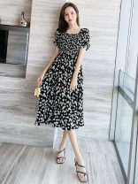 Dress Summer 2021 S,M,L,XL,2XL Mid length dress singleton  Short sleeve commute square neck Elastic waist Broken flowers Socket A-line skirt puff sleeve Others 18-24 years old Type X Other / other lady More than 95% Chiffon polyester fiber