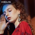 Earrings Alloy / silver / gold 51-100 yuan Xibeilin / xibeilin Long love crystal brand new female Japan and South Korea goods in stock Online gathering features Alloy inlaid artificial gem / semi gem other six thousand five hundred and fifty-one Spring of 2018 no Pure e-commerce (online only)