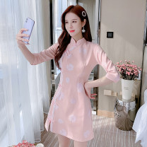 Dress Summer 2021 Pink S M L XL Short skirt singleton  elbow sleeve commute Crew neck middle-waisted Decor Socket A-line skirt routine Others 25-29 years old Type A LK2003 Korean version LK211-4694 81% (inclusive) - 90% (inclusive) other polyester fiber Polyester 90% other 10%