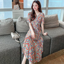 Dress Summer 2021 Decor S M L XL Mid length dress singleton  Short sleeve commute One word collar middle-waisted Decor Socket Princess Dress other Breast wrapping 25-29 years old Type A LK2003 Korean version printing LK211-4263 81% (inclusive) - 90% (inclusive) other polyester fiber