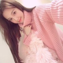 sweater Autumn of 2018 S,M,L,XL Pink [high quality fabric] Long sleeves Socket singleton  Medium length other 81% (inclusive) - 90% (inclusive) High collar thickening Sweet routine Solid color Straight cylinder Coarse wool Keep warm and warm acrylic fibres