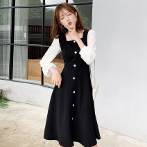 Dress Spring 2021 black S M L XL Mid length dress singleton  Long sleeves commute square neck High waist Solid color Socket A-line skirt routine Others 25-29 years old Type H Manlin Korean version Button resin fixation 3D three-dimensional decorative stitching pleating More than 95% other other