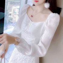 Dress Spring 2021 White [regular] white [Plush] S M L XL Mid length dress singleton  Long sleeves commute square neck High waist Solid color Socket A-line skirt puff sleeve Others 25-29 years old Type X Manlin Korean version Three dimensional decorative asymmetric button 3D More than 95% other
