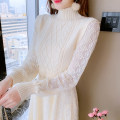 Dress Spring 2021 Apricot black S M L XL Mid length dress singleton  Long sleeves commute Half high collar High waist Solid color Socket A-line skirt bishop sleeve Others 25-29 years old Type A Manlin Korean version Three dimensional decorative resin color fixing lace 3D More than 95% other