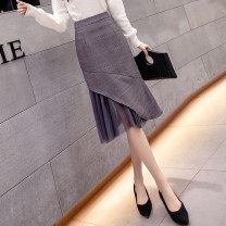 skirt Spring 2021 S M L XL Dark grey light grey Mid length dress commute High waist A-line skirt lattice Type A 25-29 years old More than 95% Manlin other Korean version Other 100% Pure e-commerce (online only)