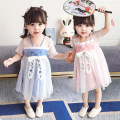 Tang costume Pink sky blue Polyester 100% female summer There are models in the real shooting routine gij Cotton blended fabric Broken flowers Cotton liner 12 months, 18 months, 2 years old, 3 years old, 4 years old, 5 years old, 6 years old Summer 2021