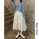 skirt Spring 2021 S, M White, black Mid length dress commute Natural waist Fairy Dress Type A 18-24 years old 21.04.12 More than 95% cotton Korean version 101g / m ^ 2 (including) - 120g / m ^ 2 (including)