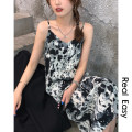 Dress Spring 2021 Black, brown M, L Mid length dress singleton  Long sleeves commute V-neck Loose waist Socket routine camisole 18-24 years old Type H Korean version Ink painting 21.04.12 More than 95% polyester fiber