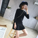 Dress Fall 2017 Khaki black S M L Middle-skirt singleton  Long sleeves commute Crew neck Loose waist Solid color Socket A-line skirt routine Others 18-24 years old Type A Korean version Splicing 17.10.8Z 51% (inclusive) - 70% (inclusive) other other