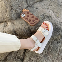 Sandals 35 36 37 38 39 White black PU Tempest Barefoot Muffin bottom Low heel (1-3cm) Summer 2021 Flat buckle Korean version Solid color Adhesive shoes Youth (18-40 years old) polyurethane daily Rear trip strap Metal decoration Low Gang Lateral space PU PU Fashion sandals Women's
