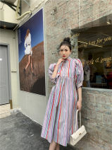 Dress Spring 2021 Picture color S,M,L longuette singleton  Long sleeves commute V-neck High waist Decor Socket other camisole 25-29 years old printing 30% and below polyester fiber