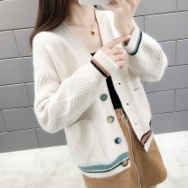 Wool knitwear Autumn of 2019 Average size (recommended 80-140 kg) Black yellow red white Khaki Long sleeves singleton  Cardigan other More than 95% Regular routine commute easy V-neck routine other Single breasted Korean version 2IZuYVQ Lianxiangni Button Other 100.00%